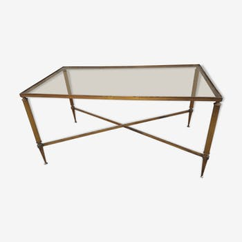 Vintage brass coffee table and smoked glass