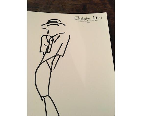 Christian Dior: illustration de mode de presse des années 80 en noir et blanc – collection printemps - été 1986