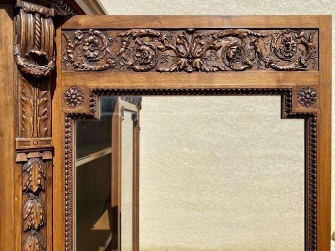 Vitrine bibliothèque en noyer style Louis XVI