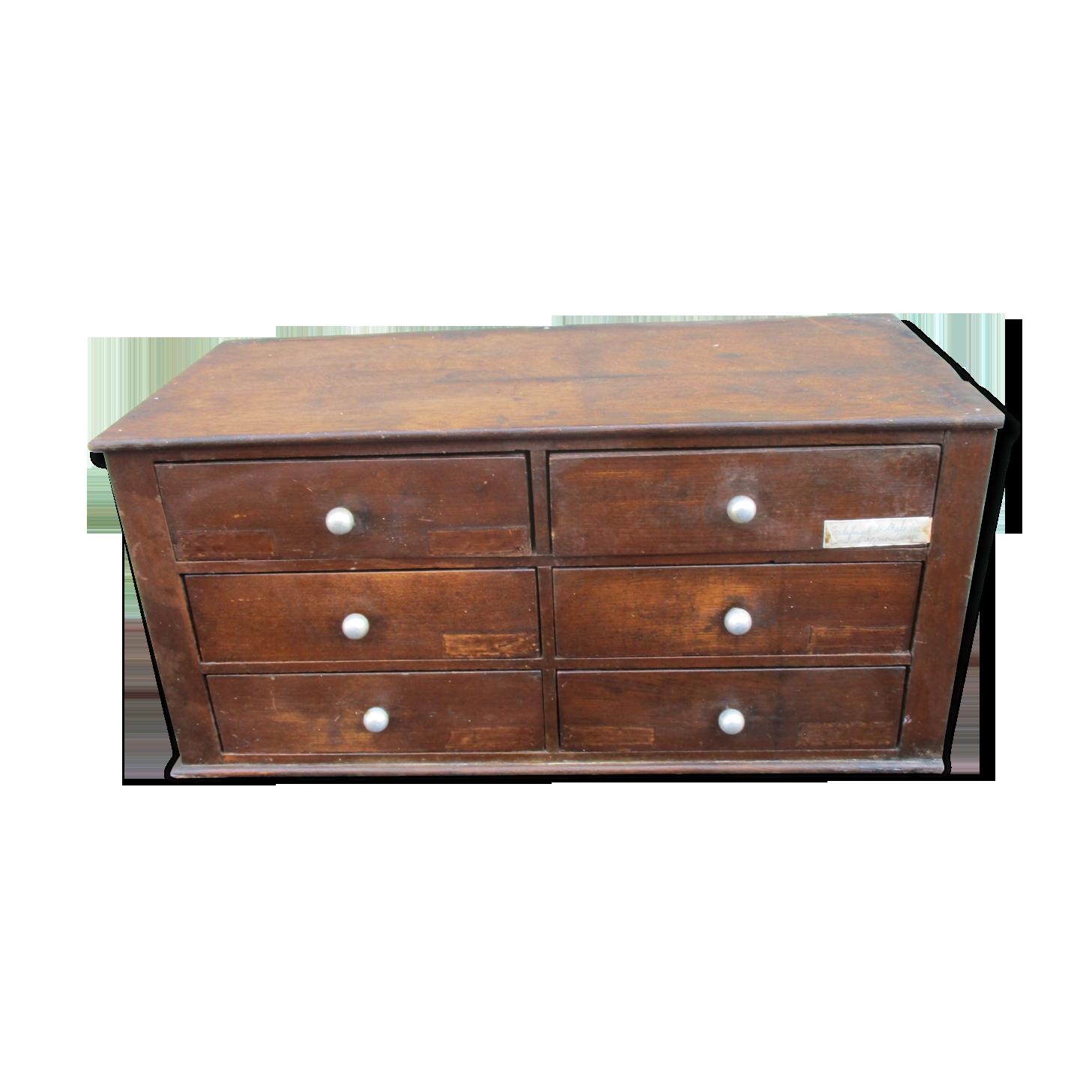 Meuble métier classeur tiroirs bureau bois chêne secrétariat
