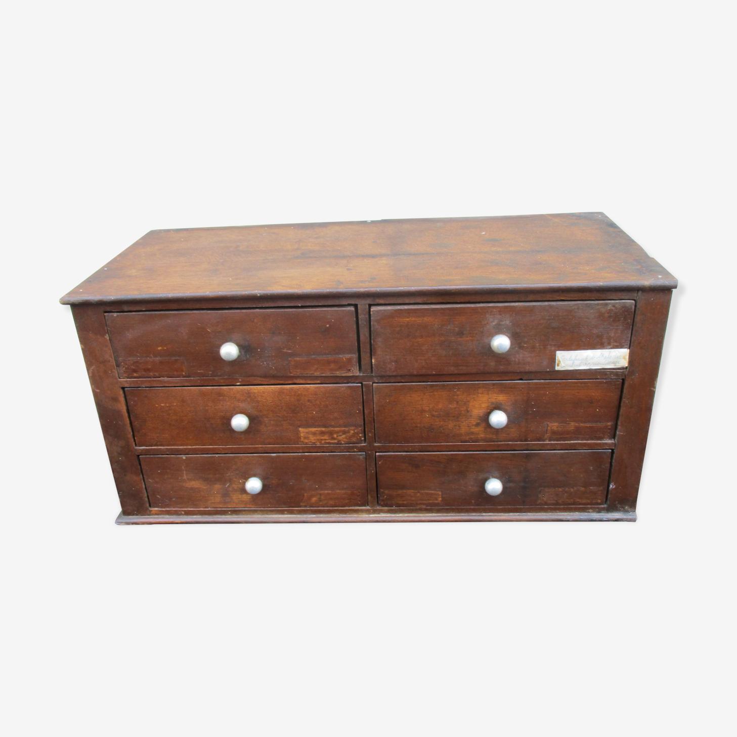 Meuble métier classeur 6 tiroirs bureau bois chêne secrétariat