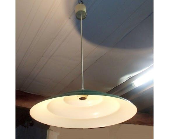 Lustre suspension metal vert et blanc vintage