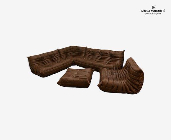 """Ensemble de salon vintage """"Togo"""" en cuir marron par Michel Ducaroy pour Ligne Roset 1970s"""
