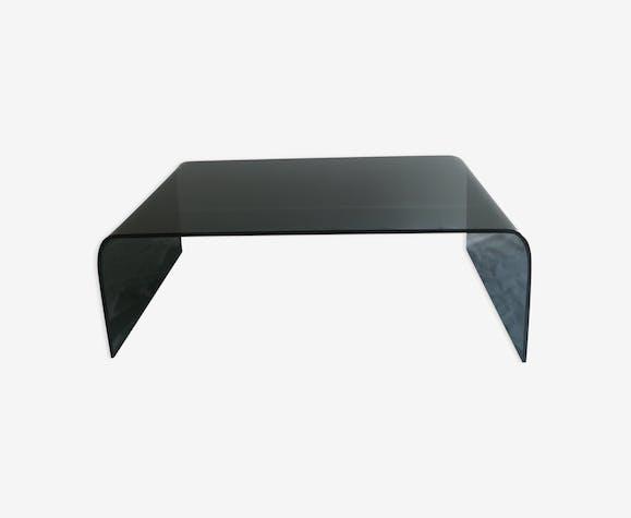 Table Pont Cinna En Verre Fumé Verre Et Cristal Noir
