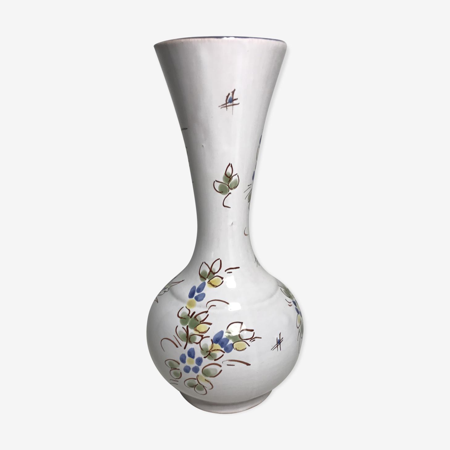 Vase ancien céramique Moustiers blanc peint main