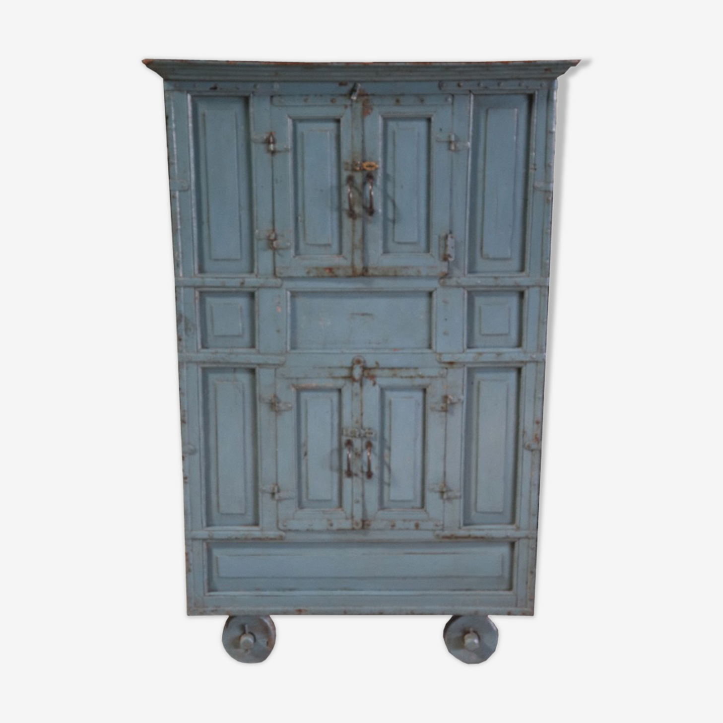 Cabinet grey blue Hutch on wheels with hatches secret old teak