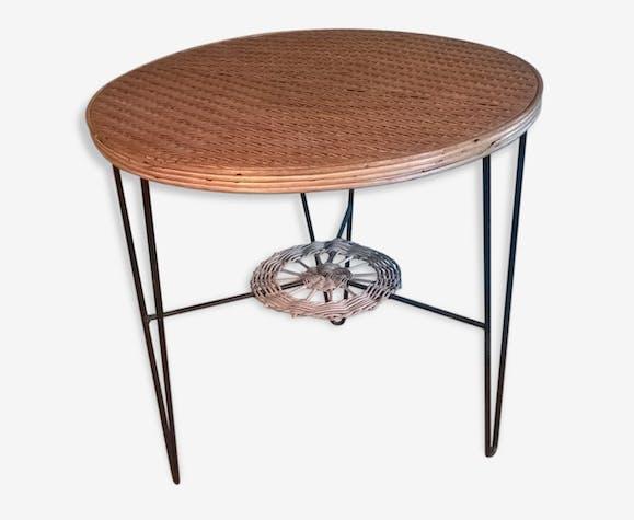 Table ronde vintage, tripode, plateau rotin et piétement fer, années ...
