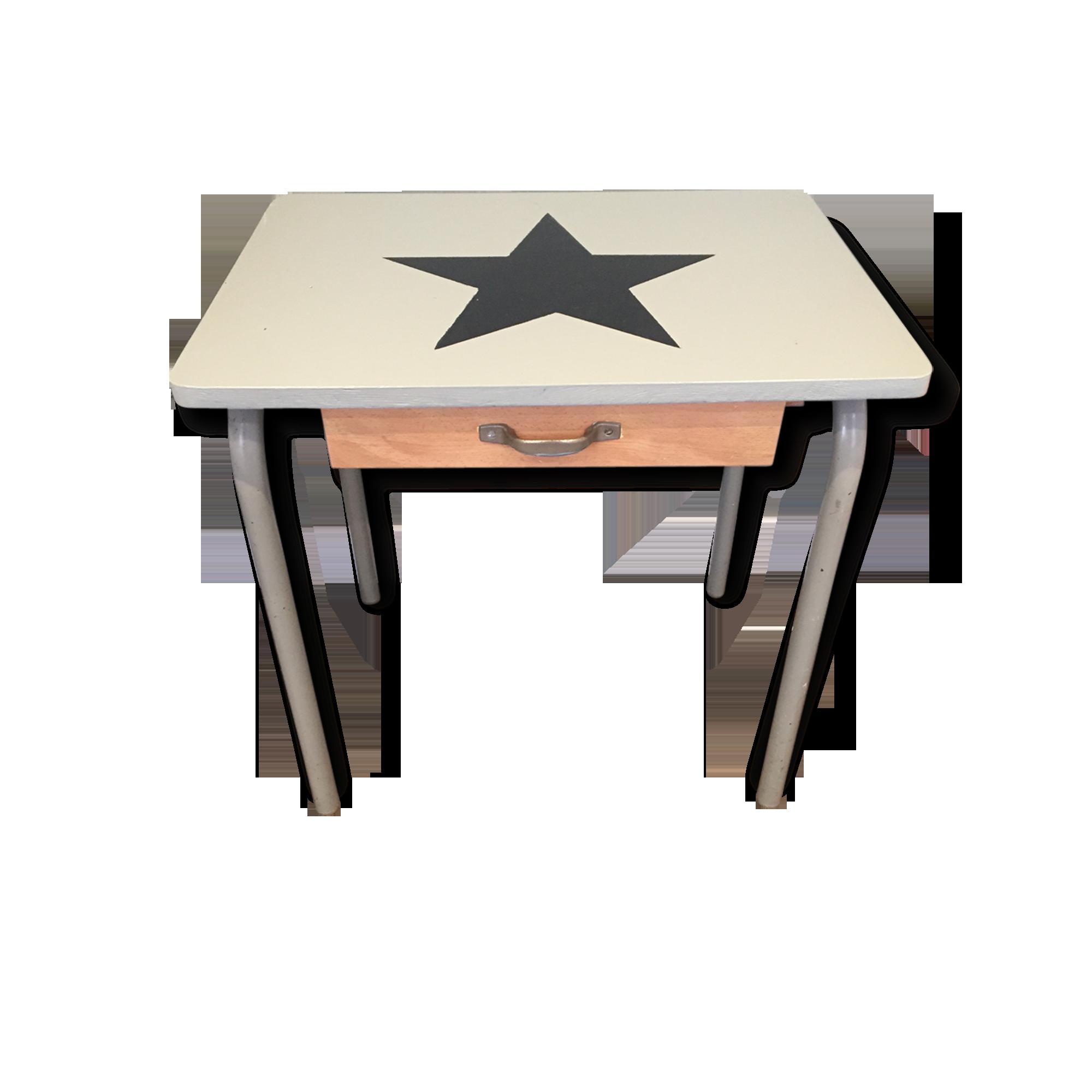 Bureau étoilé bois matériau vintage