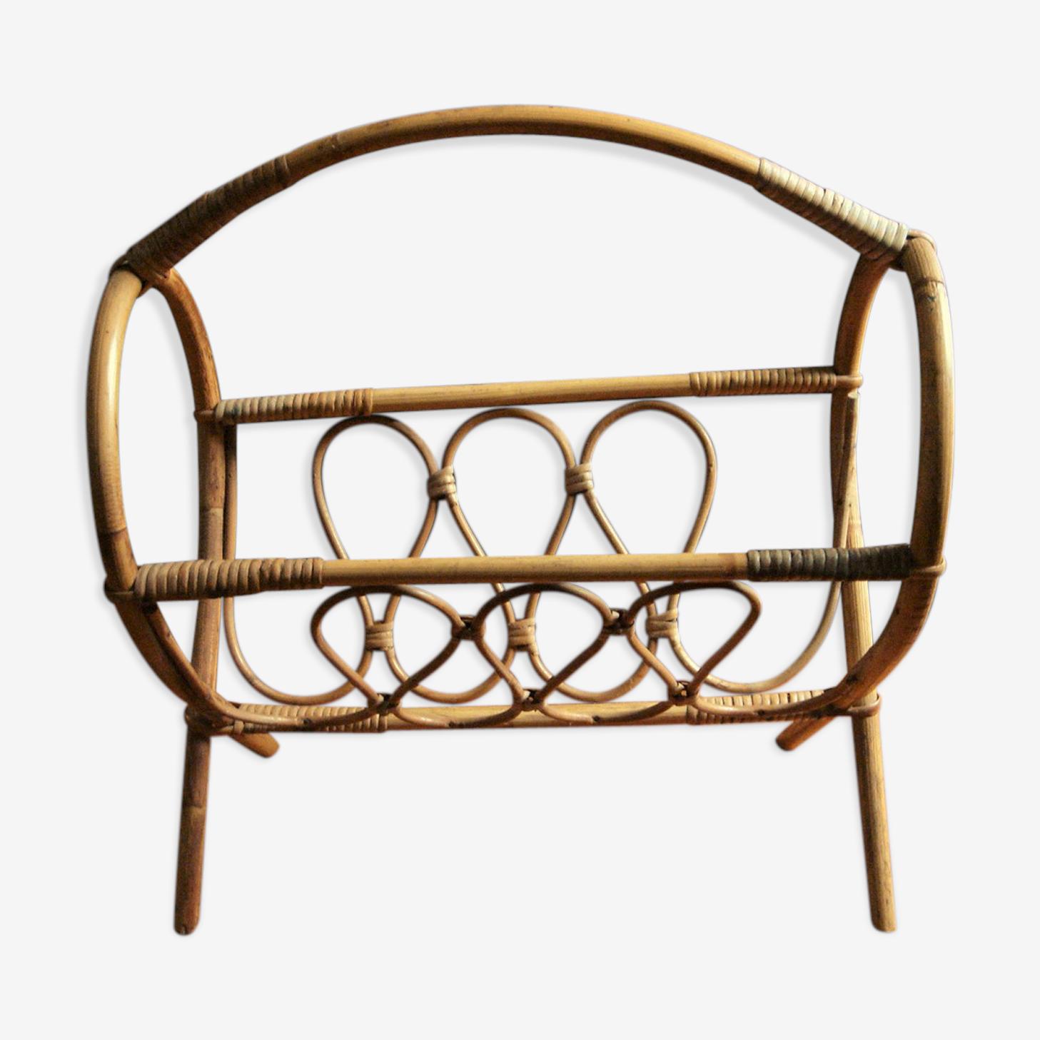 Porte-revue vintage bambou rotin, anse ronde déplacement volutes pieds