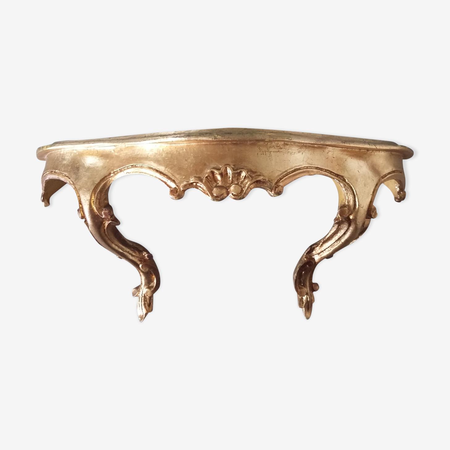 Étagère console en bois doré