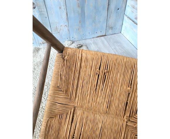 Chaise vintage en bois et paille
