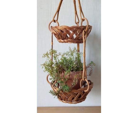 Porte plante vintage en rotin