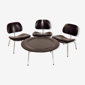 Charles and Ray Eames, 3 drivers LCM and 1 lounge table low CTM Vitra