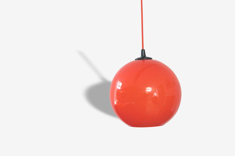 VINTAGE, lustre suspension grand globe (diamètre 25 cm) en verre opaline orange ancien luminaire seventies
