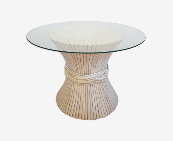 Table Vintage Basse Rotin Et Bambou Ronde Osier Blanche 0XnkwOP8