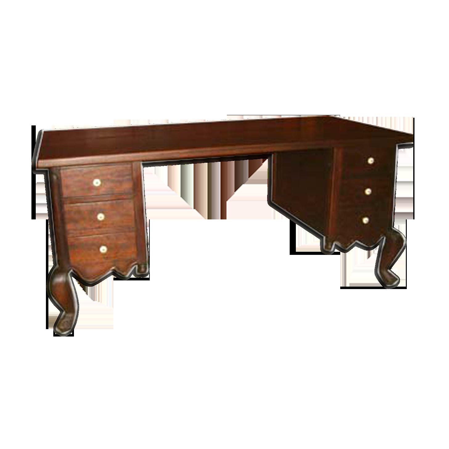 Bureau colonial bois matériau marron éthnique txd fug