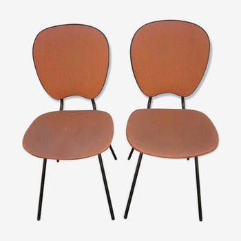 Pair of 1960 years Brown leatherette chairs