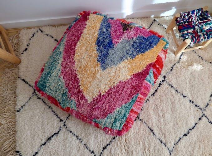 Hand-woven Goat-woven Berber pouf