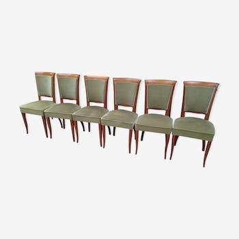 Suite de 6 chaises 1950 velours vert et chêne massif