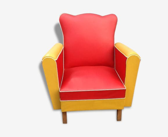 fauteuil club vintage bicolore ann e 60 ska vintage 33416. Black Bedroom Furniture Sets. Home Design Ideas