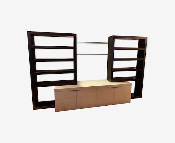 Grande bibliotheque meuble tv roche bobois bois mat riau noir design q8k3ziq - Roche bobois meuble tv ...