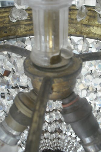 Lustre montgolfière en cristal et bronze XIXe