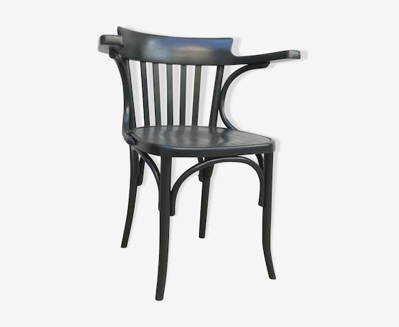 chaise bistrot en bois avec accoudoirs bois mat riau. Black Bedroom Furniture Sets. Home Design Ideas