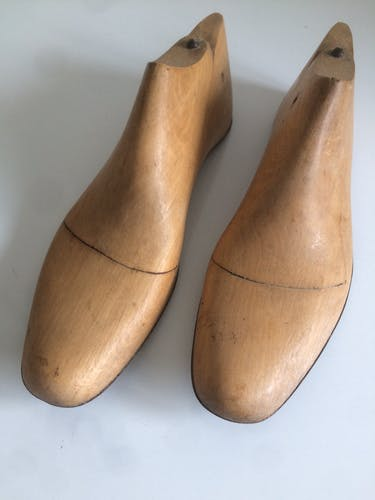 Pair of antique, size 42, wooden shoes