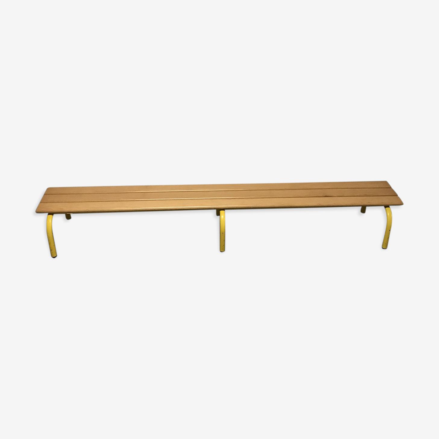 Banc d'école maternelle vintage bois et métal jaune 2 mètres