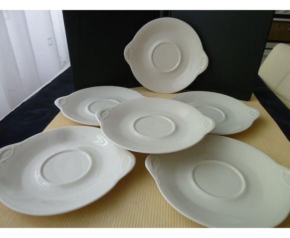 """Set de 6 assiettes en porcelaine de Limoges pour """"Café Gourmand"""""""