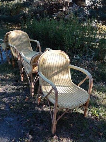 Ensemble de 4 fauteuils rotin et scoubidou