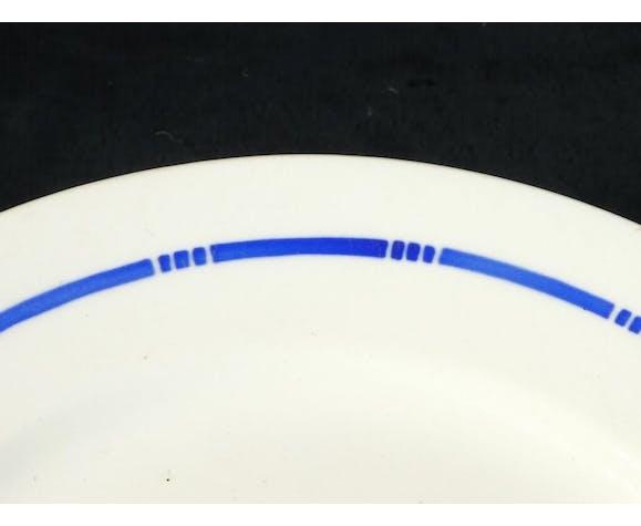 9 Assiettes à desserts en faïence de Badonviller modèle rose bleu