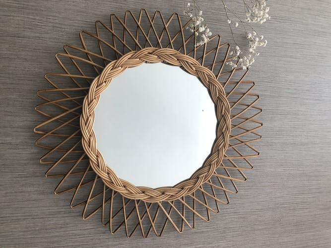 Miroir soleil en rotin 44 cm