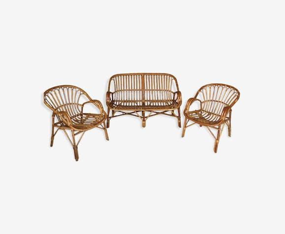 Salon de jardin canapé et fauteuils - rotin et osier - bois (Couleur ...
