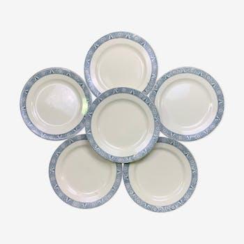 Set of 6 dinner plates Earth iron Lamartine