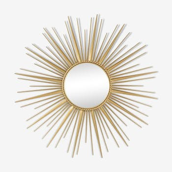 Chaty Vallauris, Miroir soleil en laiton doré, vers 1960