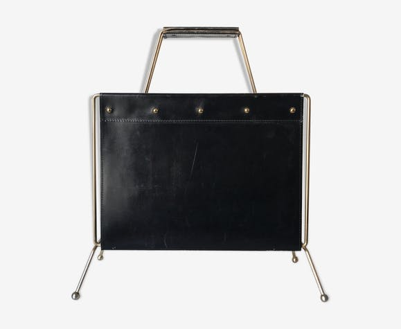 Porte-revue shabby chic en cuir et laiton, 1960s