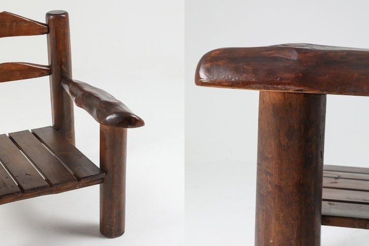 Paire de chaises de salon Wabi Sabi en bois rustique - années 1950
