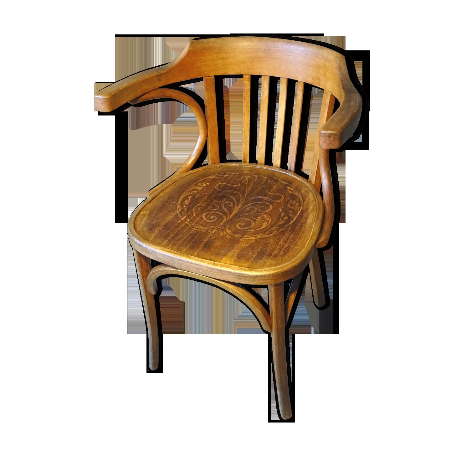 Fauteuil de bureau n° de baumann assise en bois vintage des