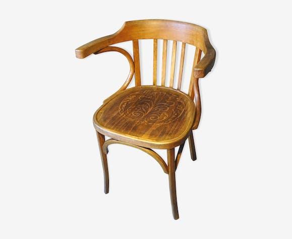 Fauteuil de bureau n°21 de baumann assise en bois vintage des