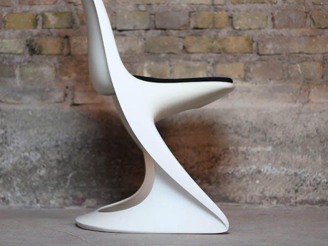 Chaise casalino blanche vintage par Alexander Begge pour Casala