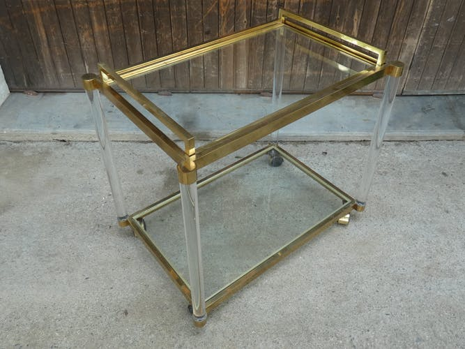 Trolley in golden metal, glass and plexiglass with removable tray 1970s