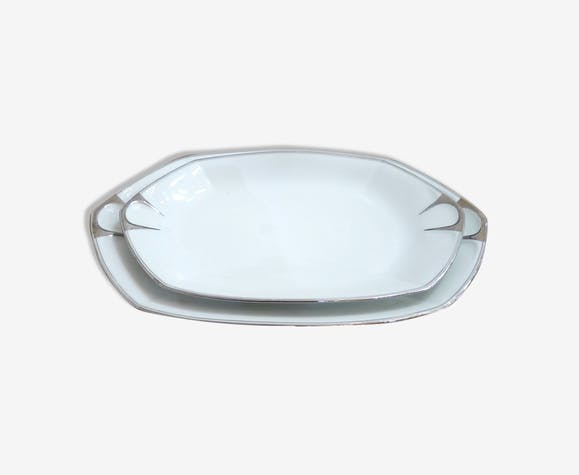 Paire de plats Art Déco, porcelaine de Limoges 1930
