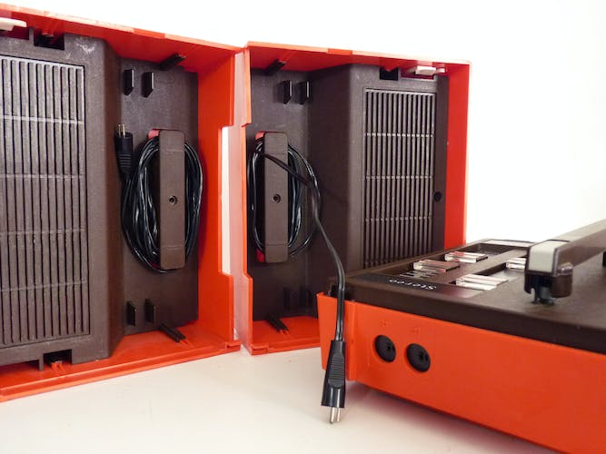 Former turntable portable suitcase Pathé Marconi The voice of his master. Model ES 3027 V.