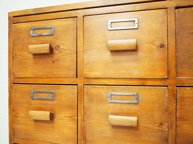 Vintage solid pine multi draw industrial chest