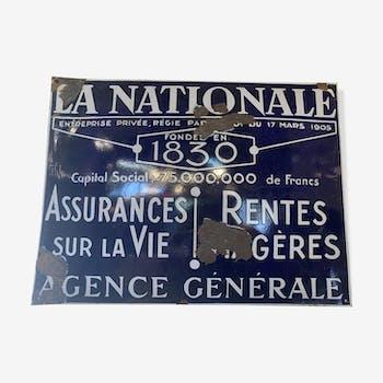 """Plaque émaillée """"la nationale"""""""