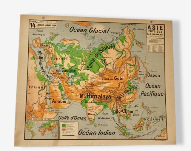 Carte scolaire VIDAL LABLACHE vintage années 50 ASIE