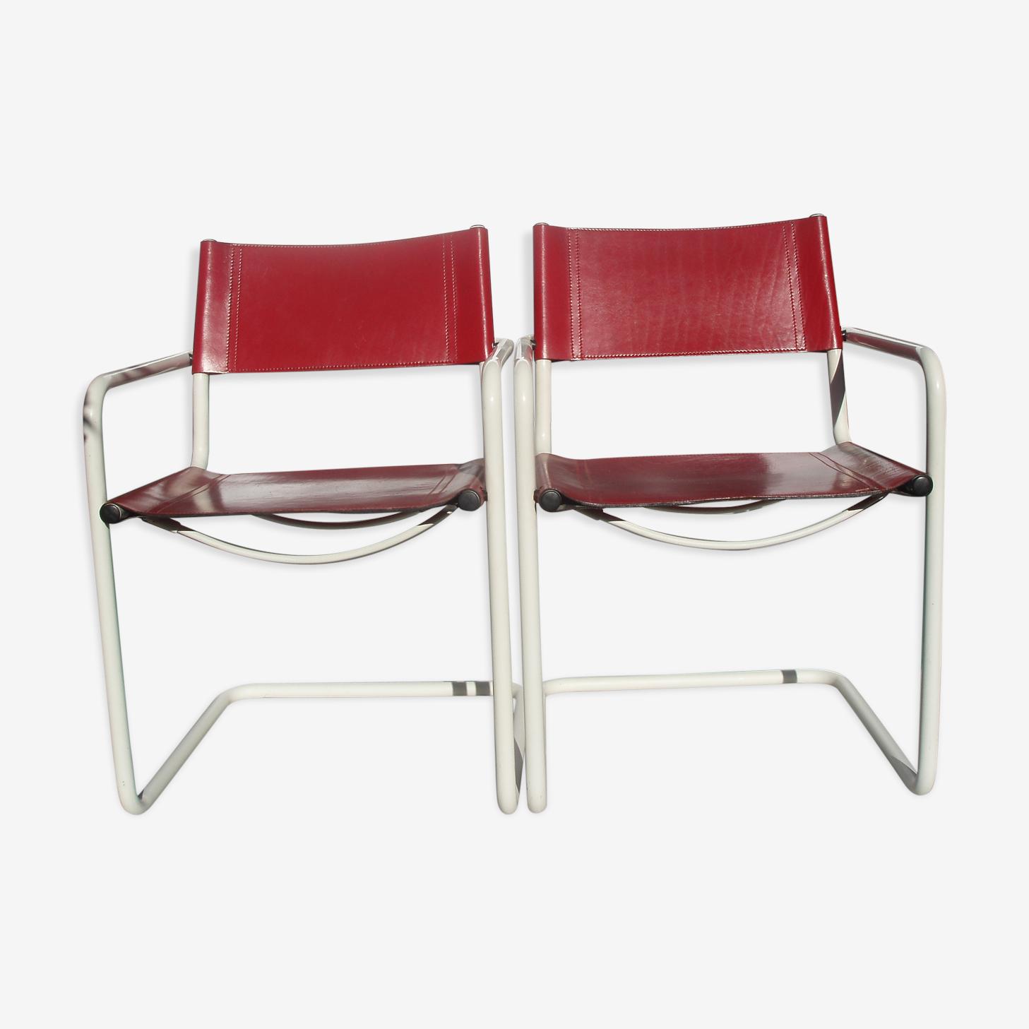 Duo de 2 Fauteuils en cuir rouge et tube laqué blanc