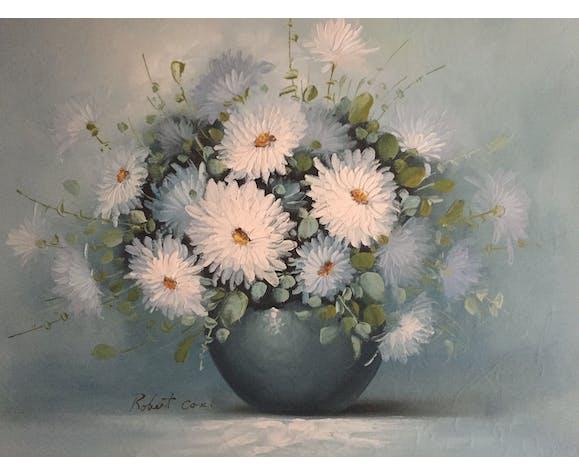 Huile Sur Toile Nature Morte Au Bouquet De Fleurs Blanches Selency