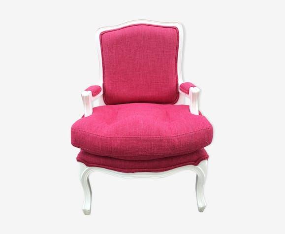 """Fauteuil style """"a la reine"""" enfant rose framboise"""